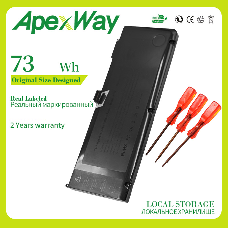 """Apexway A1321 Laptop Battery For Apple Macbook Pro 15"""" A1286 2009 2010 year Version 020-6380-A"""
