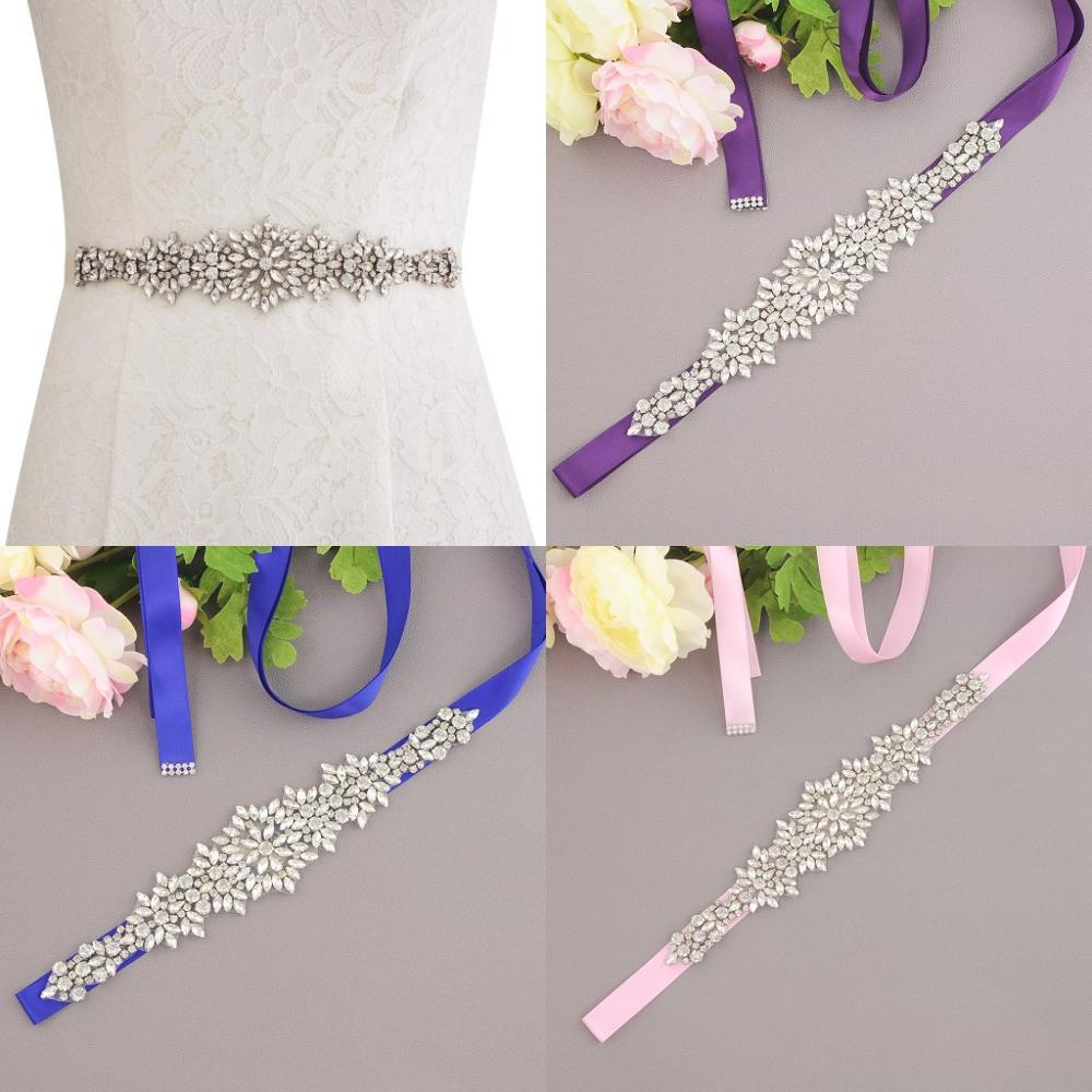 Rhinestone Crystal Wedding Belt Handmade Bride Bridal Sash With Satin Ribbon cinturon flores Wedding Accessories 2020