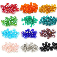 wholesale 4-8mm clear faceted glass round beads Rondelle crystal Austria beads for bracelet necklace making DIY Jewelry findings(China)