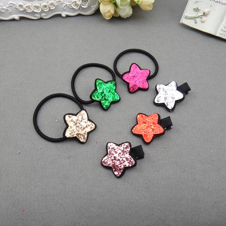 1PC/1Set Lovely Sequin Star Girl Combination Ponytail Elastic Hair Bands Sweet Children's Series Hair Grips Hair Accessories