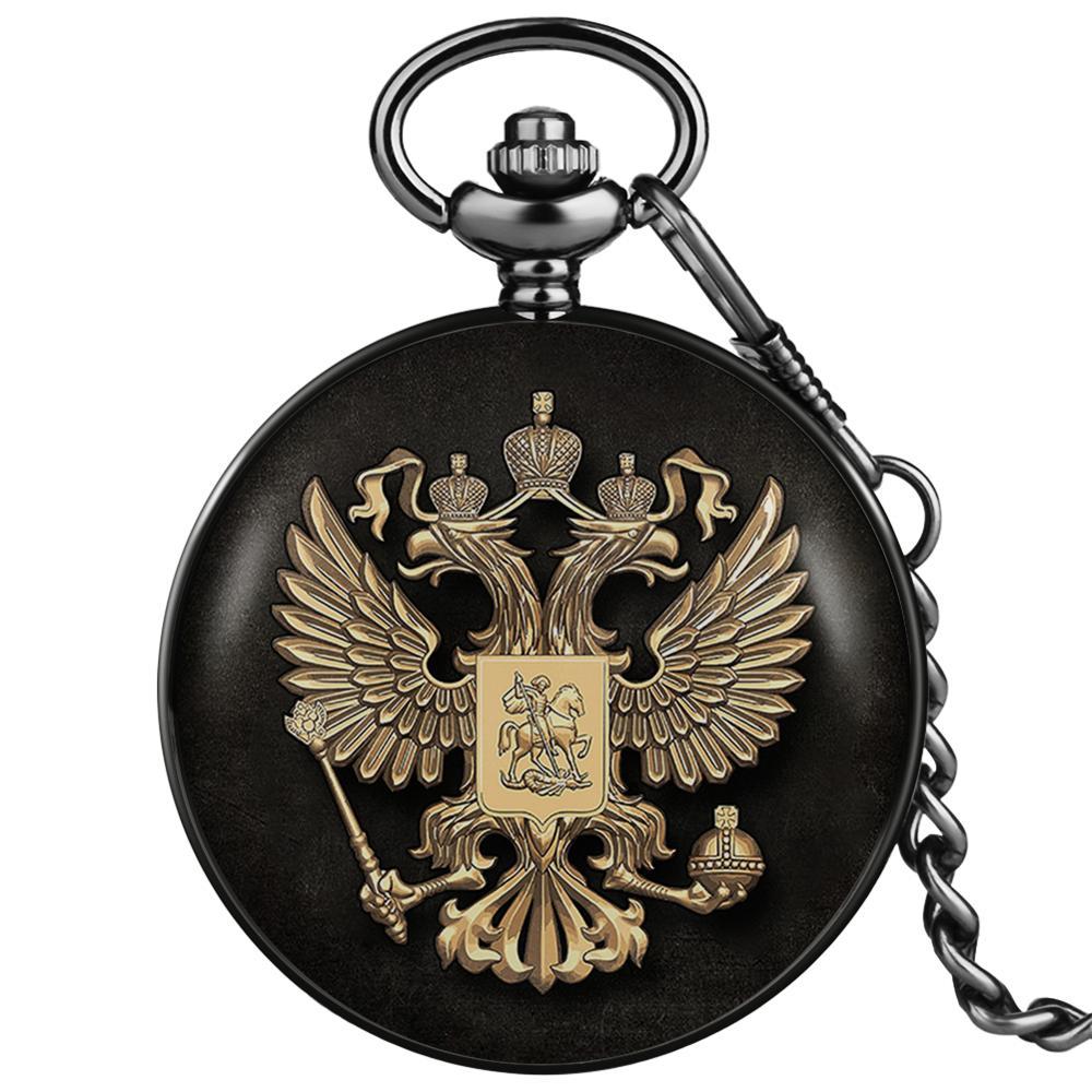 Russian Double-headed Eagle Quartz Design Pocket Watches National Emblem Dome Commemorative Badge Art Collections for Men Women