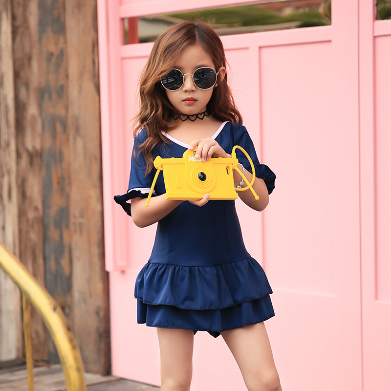 South Korea New Style Haiyishan Middle And Large Girls Han Ban Qun-One-piece Princess Students Swimming Suit