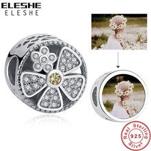 Personalized Custom Photo DIY Jewelry 925 Sterling Silver Bead Charm Crystal Flower Spacer Beads Fit European Charm Bracelet(China)