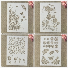 Layering Stencils Embossing-Album-Decorative-Template Wall-Painting Rose-Flower Scrapbook-Coloring