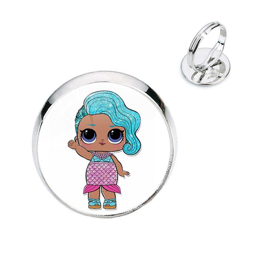 패션 16mm 유리 돔 카보 숑 반지 Kawaii 다채로운 만화 이미지 사진 인쇄 쥬얼리 여자 아이 생일 선물