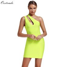 Ocstrade Sexy Mini Dresses Party Night Club 2019 Women Neon Green Bandage Dress One Shoulder Cut Out Bodycon