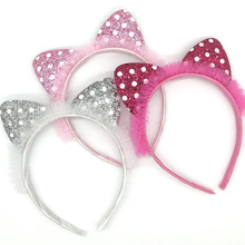 1Pcs New Fashion Cute Children Sequined Cat Ears Headband Funny Plush Hair Band For Festival Soft Lovely Hairband