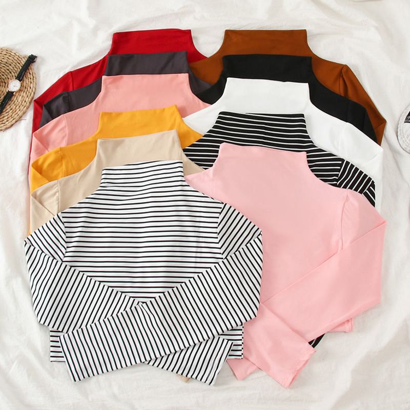 Korean Autumn Women Causal Solid Slim Bottoming Tshirt Harajuku Stripe Long Sleeve Turtleneck T-Shirts Girls Basic T Shirt Tops