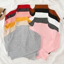 korean Autumn Women Causal Solid slim Bottoming tshirt harajuku stripe Long Sleeve Turtleneck T-Shir