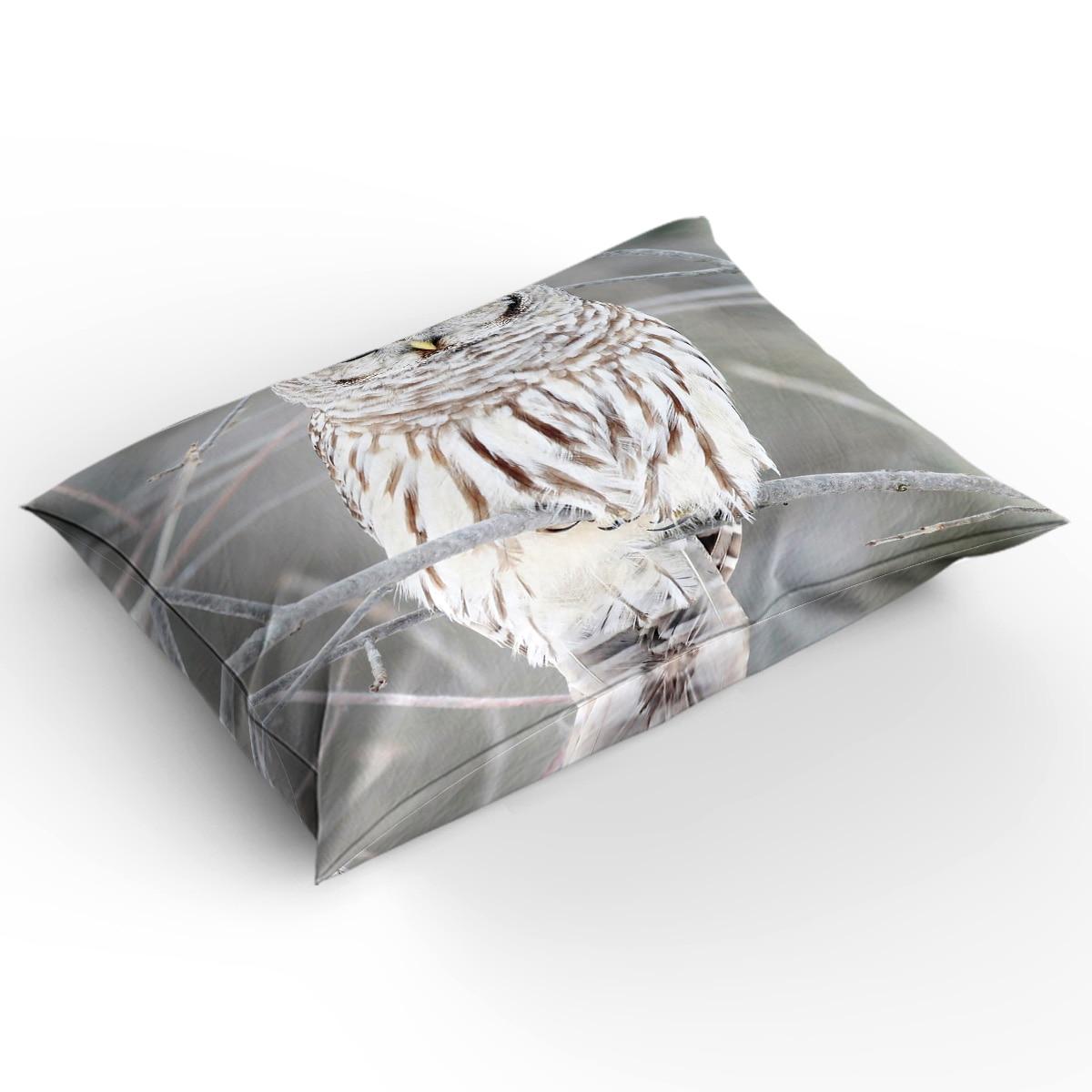 Coruja inverno Em Pé Sobre Os Ramos Cinza Impressão Conjunto de Cama Personalizada 3D Impressão Digital NOS da RAINHA do REI Jogo De cama de Natal - 2