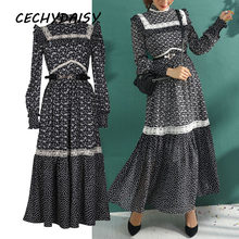 High Quality Black Polka Dot Printed Lace Stand Collar Women Celeberity Spring Autumn Vintage Elegant Long Dresses robe vestdios()