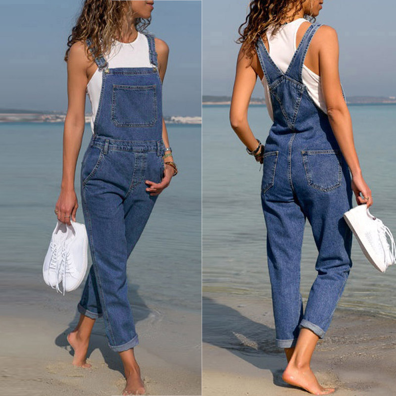 2019 New Fashion Women Denim  Overalls Jumpsuit Casual Sleeveless Jeans Pants Jumpsuits Long Bib Suspender Rompers Combinaison