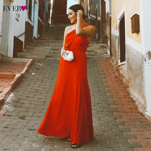 2020 New Arrival Sexy Evening Dresses Simple Orange Criss-Cross Back Spaghetti Straps Ever-Pretty EP05978OR Women Dress Party