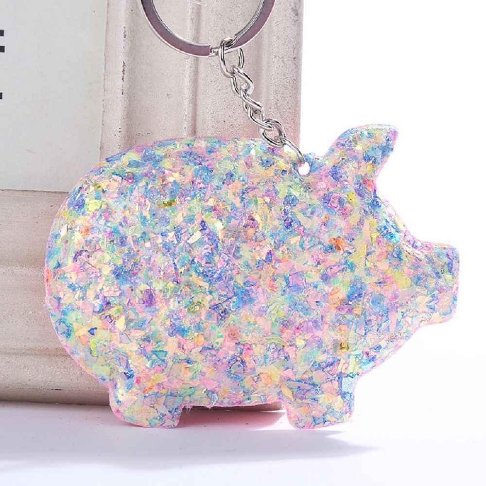 น่ารัก Chaveiro Pig พวงกุญแจ Glitter PomPom Sequins รถ Key CHAIN ของขวัญคู่รัก Mujer กระเป๋ารถอุปกรณ์เสริมแหวน