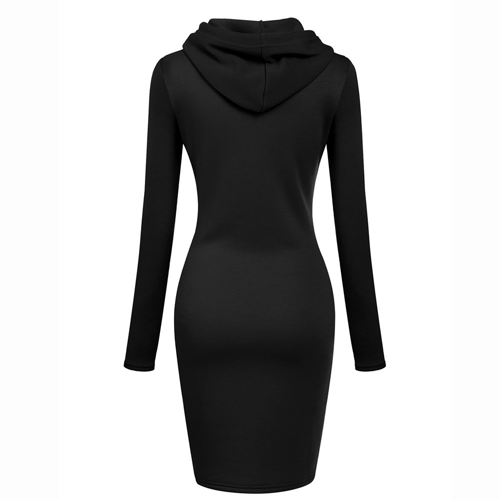 Women Winter Hoodies Dresses Long Sleeve Solid Patchwork O Neck Casual Long Hooded Sweatshirts Dress Plus
