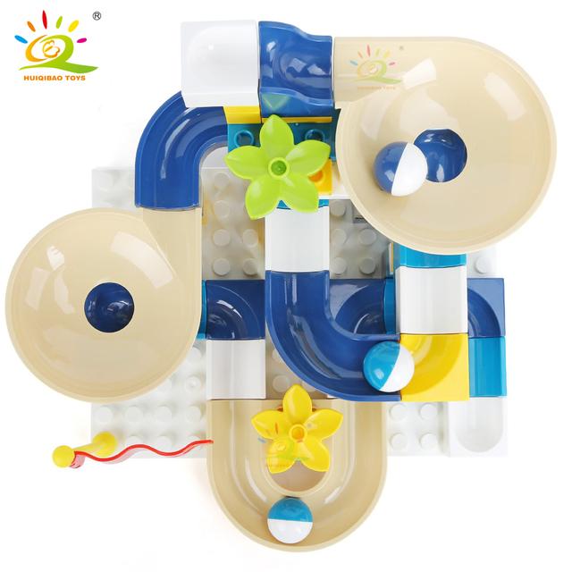 HUIQIBAO 110PCS Marble Race Run Block Big Size Building Blocks Compatible Duploed Funnel Slide Assembly Bricks Toys for children