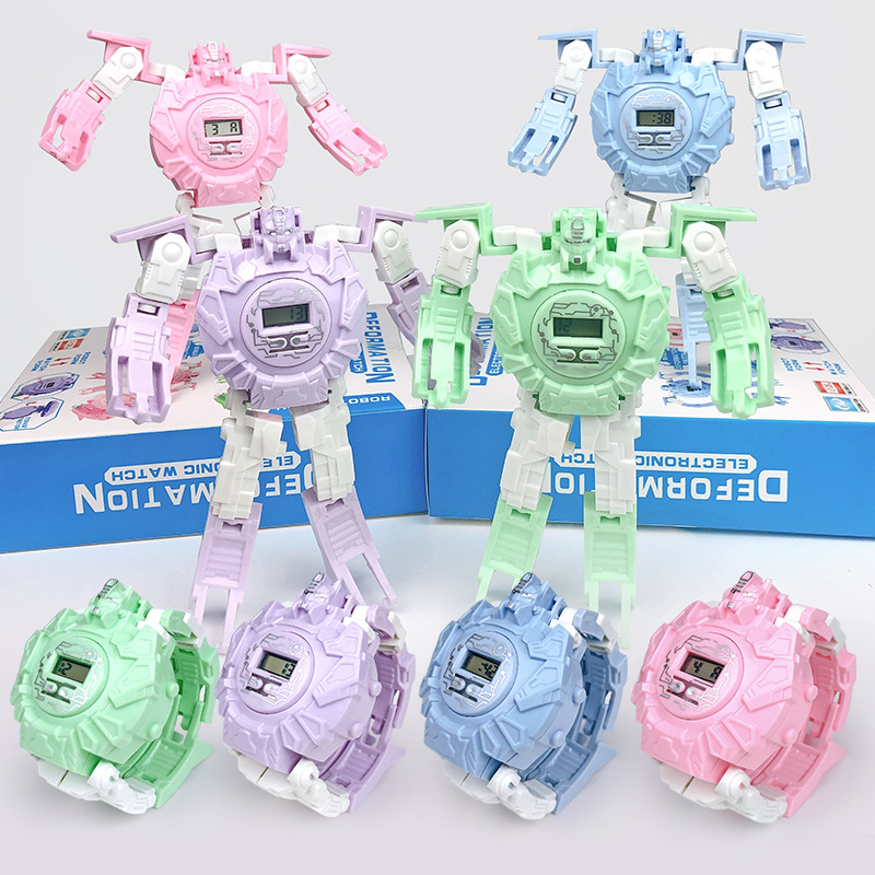 Popular Children Watches Cartoons  Electronic Kids Watches  Cool Transformation Robot  Watch The Toy