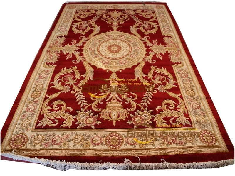 Floral Rug Wool French Carpet  About Hand-knotted Thick Plush Savonnerie Rug  6.4' X 9.51'
