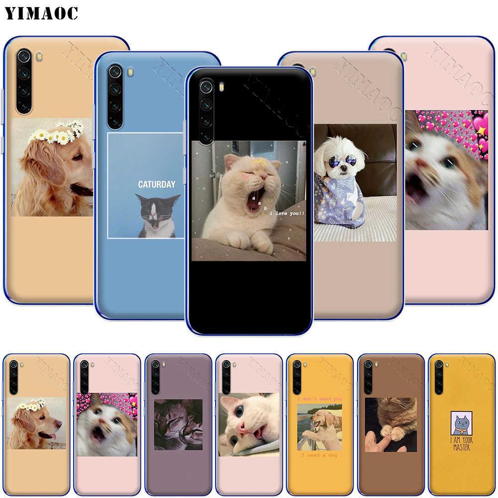 YIMAOC かわいい猫犬漫画の携帯電話ケース Xiaomi Redmi 注 8 8A 7 6 5 5A プロ 4X 4A プライムプラス