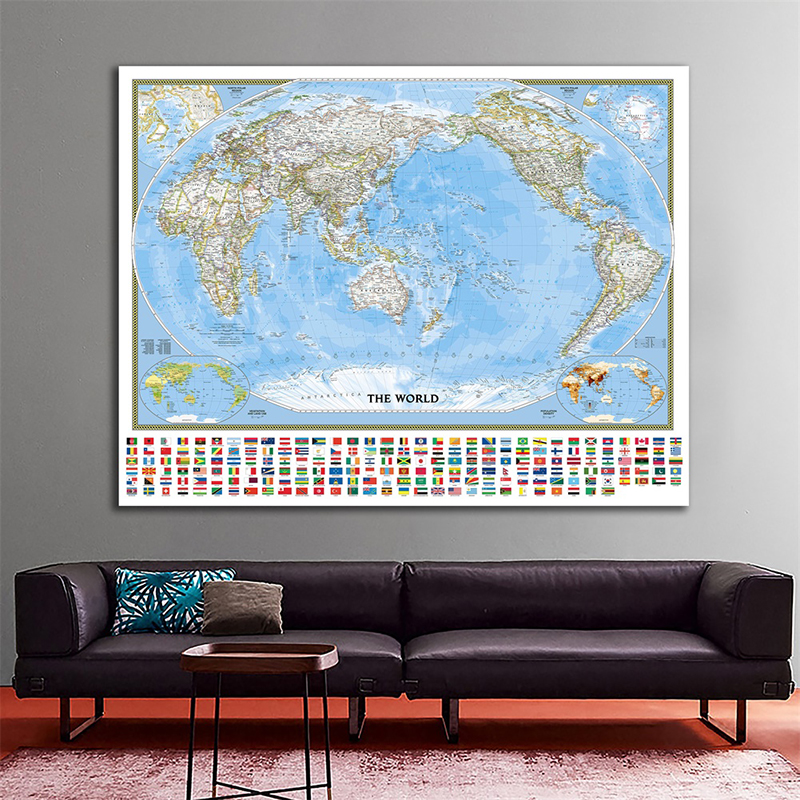 The World Physical Map With Vegetation Cover Rate And Population Density 150x100cm Non-woven Waterproof World Map