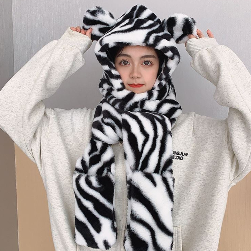 Leopard Fashion Hooded Scarf Hat Glove 3 in 1 Sets Women Winter Warm Soft Hood Scarf Snood Pocket Hats Gloves