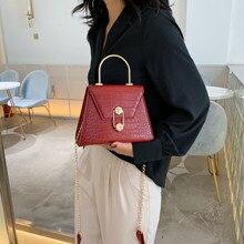 Fashion Stone Pattern hain Small Flap Bag Women Chic Pu Handbag Casual Solid Color Crossbody For Lady Metal Handle