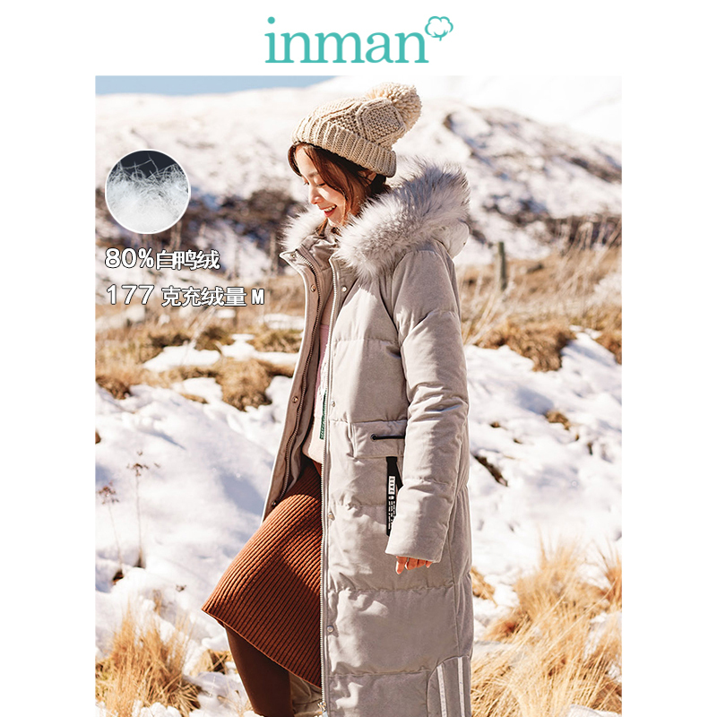 INMAN Winter Female Hooded Fur Collar Warm Windproof Loose Casual Long Section Women   Down     Coat