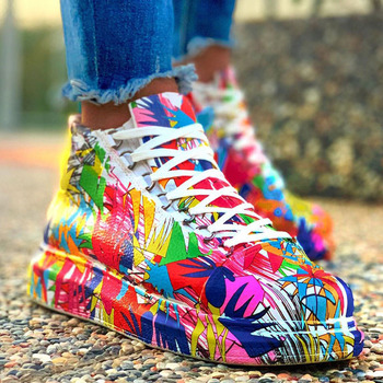 Fashion Big Size Graffiti Lace Up Female S Sneakers Casual Autumn Women Shoes Brand Mixed Color Wedges