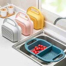 Strainer Fruit-Basket Collapsible Colander Handle Kitchen-Tools Vegetable Foldable