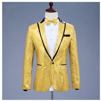 Blazers Men's Costume Sparkly Gold Sequins 7 Colors Jacket Nightclub Singer Host Stage Wear Studio Wedding Show Performance Wear