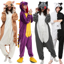 Hewan Dewasa Kigurumi Unicorn Bear Cat Hiu Onesie Piyama Raccoon Fox Pokemon Kostum Dragon Jumpsuit Hadiah Natal(China)