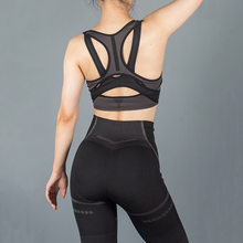 New European and American style sportswear fitness stripes seamless hip hips tight trousers bra set yoga clothes