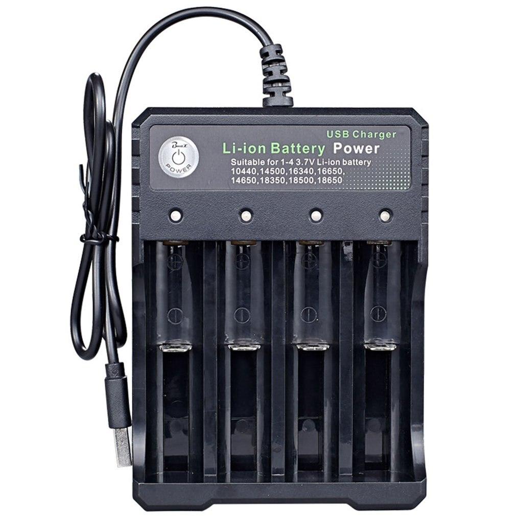 Usb 18650 carregador de bateria preto 4 slots ac 110 v 220 v duplo para 18650 de carregamento 3.7 v bateria de lítio recarregável