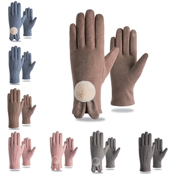 цена на 9 Colors Fashion Women Gloves Autumn Winter Rabbit Fur Touch Screen Cute Warm Full Finger Mittens Female Cashmere Gloves New