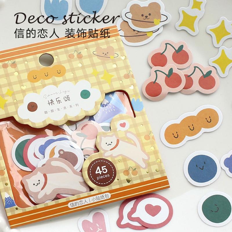 DEHMJJ 45X Sweet Life Series Journal Decorative Animal Stickers Scrapbooking Stick Label Diary Stationery Album Flower Stickers