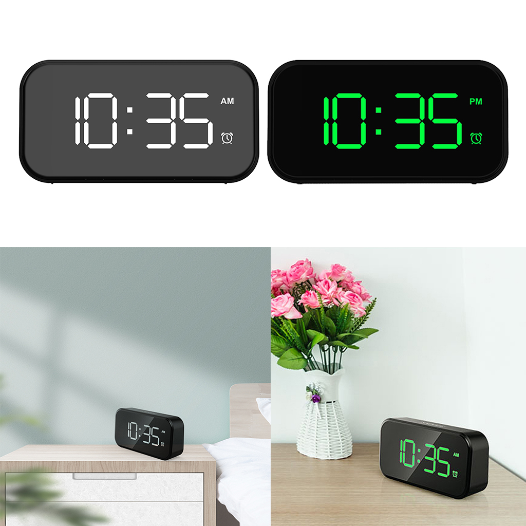 Snooze Digital Alarm Clock LED Screen 12/24H USB Port for Kitchen Office