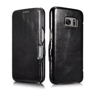 Image 3 - Funda de cuero genuino de lujo para Samsung Galaxy S7 Fundas de moda de pantalla completa cubierta de protección magnética Flip Cover Fundas de teléfono