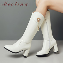 Meotina Autumn Knee High Boots Women Pearl Flower Thick Heel Long Zipper Round Toe Shoes Ladies Winter Big Size 33-43