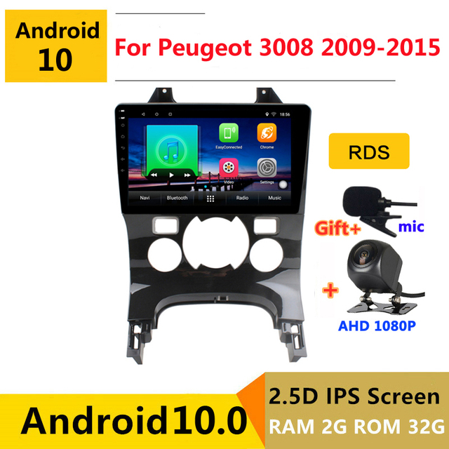 Android 10เครื่องเล่นดีวีดีรถยนต์มัลติมีเดียGPSสำหรับPeugeot 3008 2009 2010 2011 2012 2013 2015 2018 Audioวิทยุอัตโนมัติสเตอริโอนำทาง