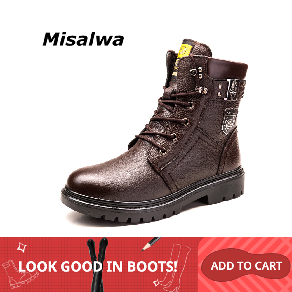 Misalwa Men's Snow Boots 2019 British Genuine Leather Wool Warm Boots Handsome Stylish Lace-Up Spring Motorcycle Safety Boots