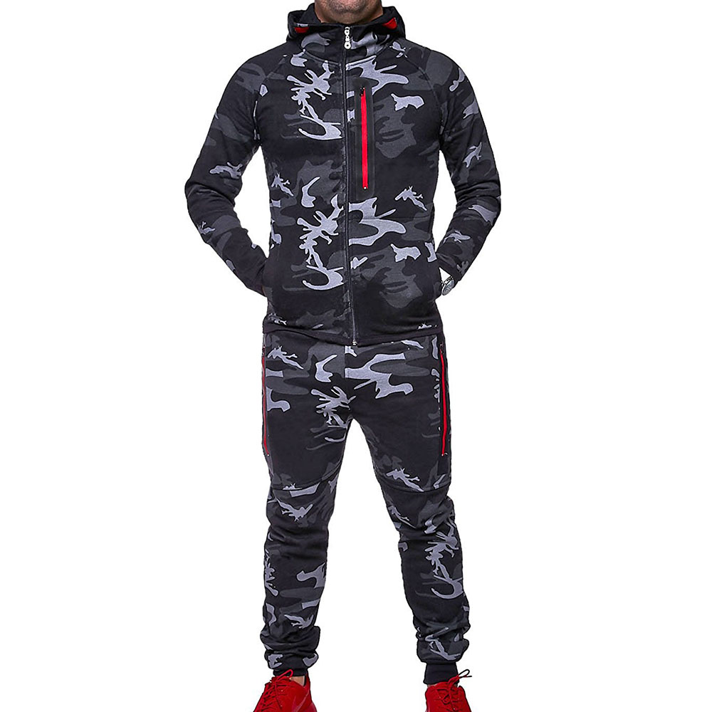 ZOGAA Men Track Suit 2018 Camouflage Jacket Camo Print Tracksuit Matching Sets Sportswear Hoodie Coat Pants Sweatsuit Military