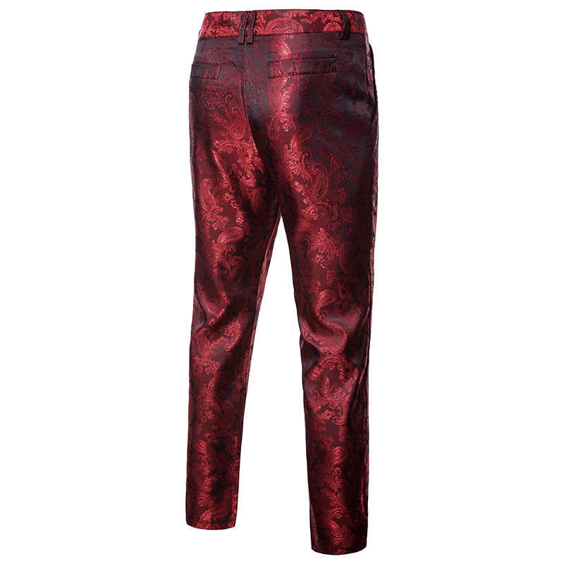 Shenrun Men Fashion Pants Slim Casual Trousers Black Wine Red Purple Groom Suit Pants Stage Dress Costume Singer Host Night Club