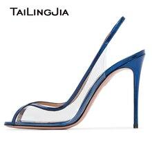 Peep toe Party Pumps Stiletto PVC High Heels Women Slip on Blue PU Leather Clear