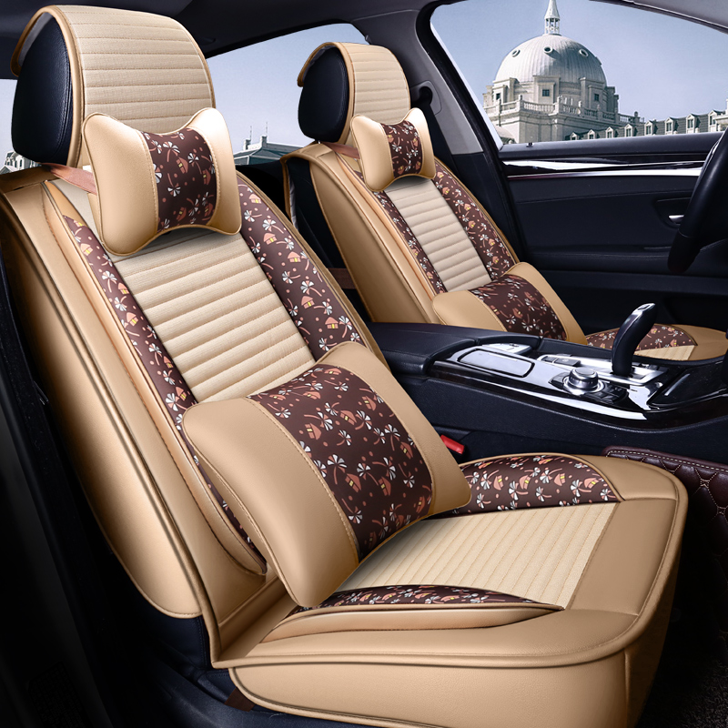 Full Coverage PU Leather car seat cover flax fiber auto seats covers for Peugeot 107 208 301 308 408 rcz 508 2008 4008 3008 5008 image