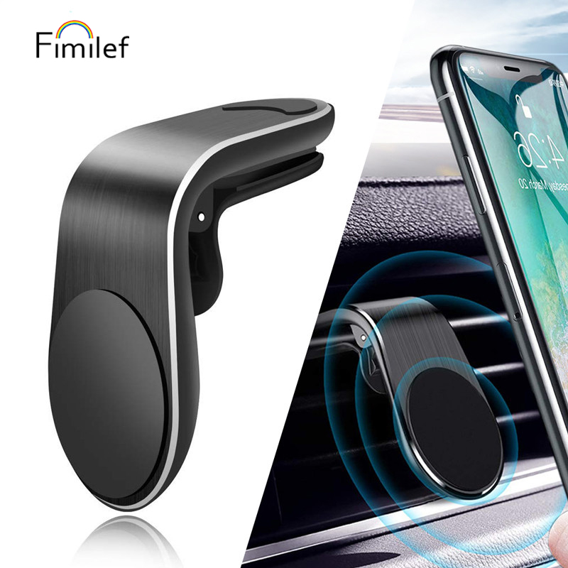 Universal Magnetic Car Phone Holder L Shape Air Vent Mount Stand For IPhone Samsung Xiaomi Huawei GPS Mobile Phone Holder In Car