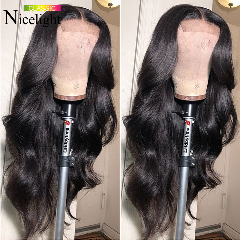 Nicelight Hair Body Wave Wig 4X4 Lace Closure Wig 100% Human Hair Wig Peruvian Remy Hair Wigs For Black Women 8-26Inch