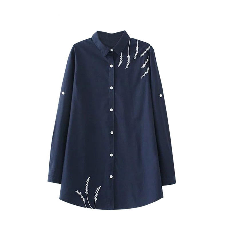 Plus Size Women Pink Embroidered Blouses Cotton Blue Long Sleeve Shirt Turn-down Collar Top Camisas Femininas Blusa