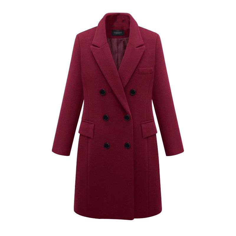 Женское зимнее теплое толстое двубортное ветрозащитное пальто размера плюс 5XL выше размера D, приталенное длинное шерстяное пальто CH722
