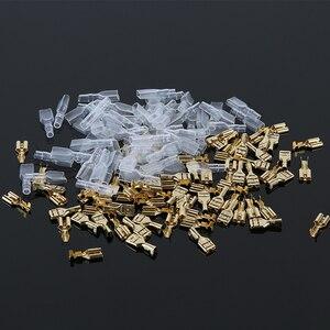 200 sztuk mężczyzna/Spade Crimp żeńskie złącze elektryczne tuleja izolacyjna Faston Terminal dla 22-16 AWG zestaw złoty mosiądz lutowane