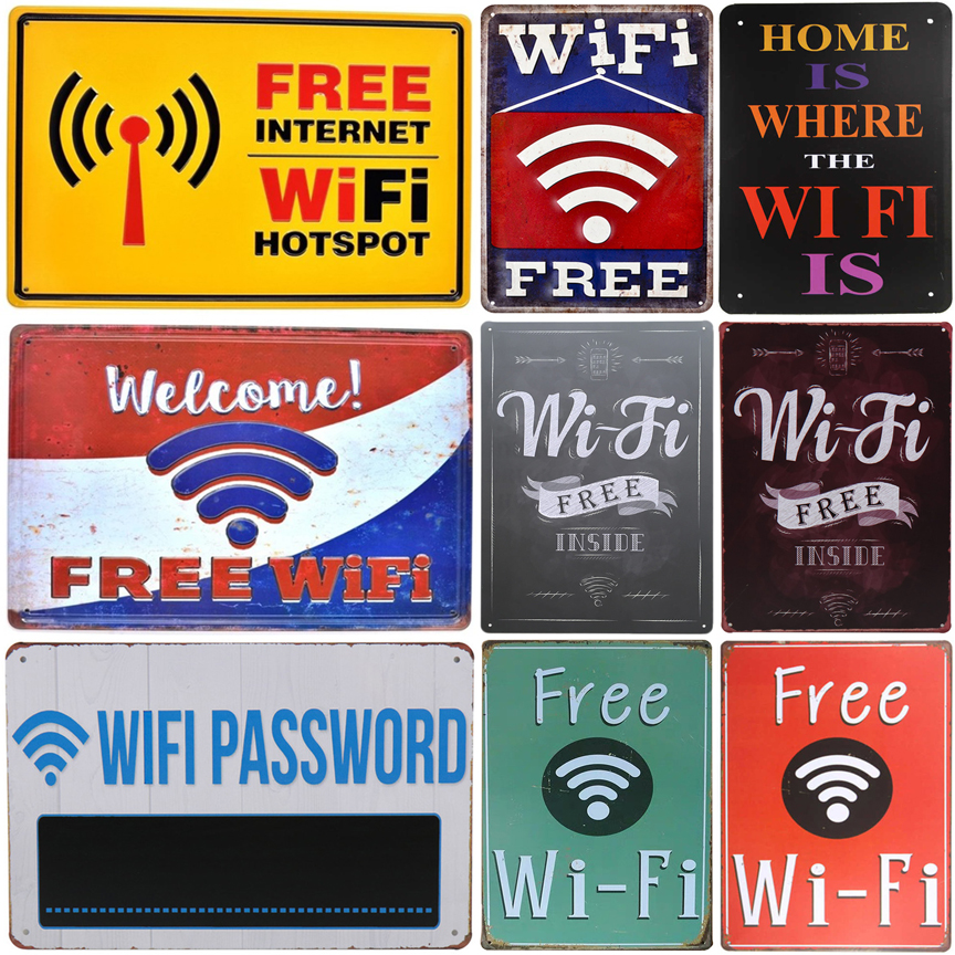 Welcome! Free wifi. Home is where the wifi is. vintage tin sign retro metal plate painting wall decoration for cafe bar pub club